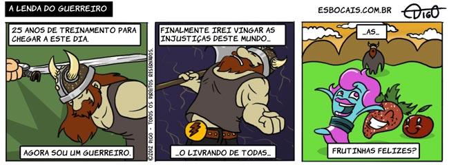 viking tirinha guerreiro fruta espada chifre capacete barba