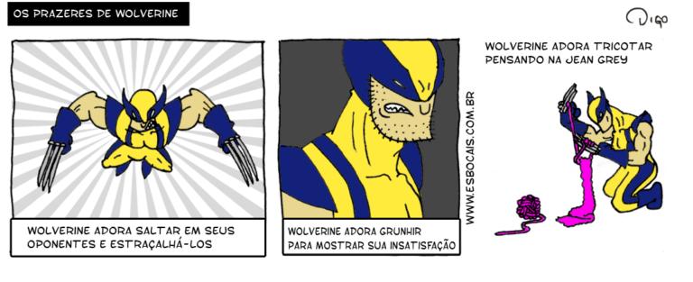 SS #10 – Os prazeres de Wolverine | Wolverine saltando.  Wolverine com cara de mau.  Wolverine tricotando com as garras Wolverine adora tricotar pensando na Jean Grey ( adora, prazeres, Tirinha, Tirinhas, wolverine)
