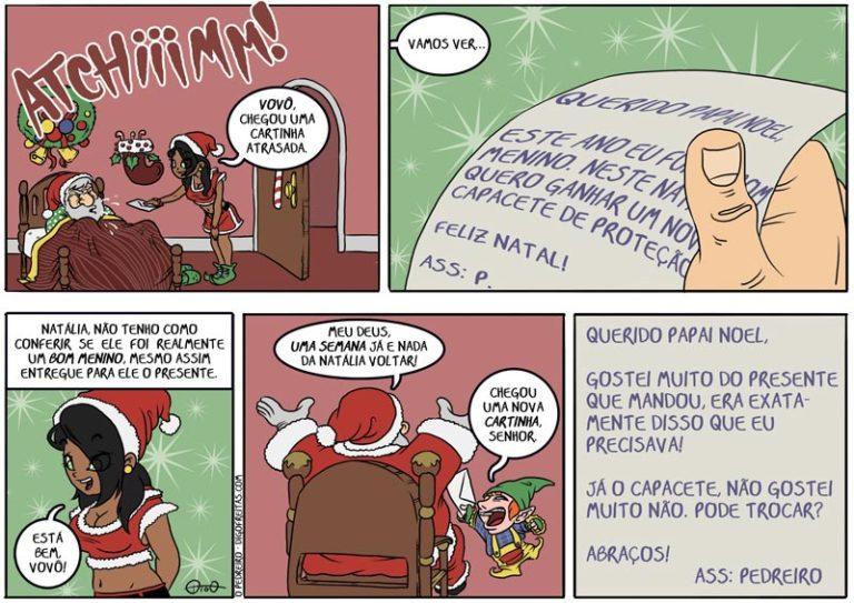 Um Natal Pedreiro |  ( ajudante, bom, cama, cantada, capacete, doente, duende, elfo, enfeite, espirro, febre, feliz, gnomo, gripe, menino, natal, natália, papai noel, pedreiro, presente, tirinha, Tirinhas)