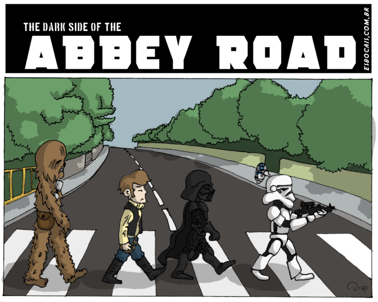 Especial #2 – The Dark Side of The Abbey Road   Chewbacca, Han Solo, Darth Vader e um stormtrooper, atravessam uma faixa de pedestres, como os Beatles em abbey road. ( abbey, abbey road, atravessam, beatles, chewbacca, come, comemos, comendo, comer, comerá, comeram, comerão, comerei, comerem, comeremos, comeria, comeriam, comermos, comesse, comessem, comeu, comi, comia, comiam, comida, comidas, comido, comidos, como, cover, darth, darth vader, dê, é, em, faixa, han, my, os, pedestres, road, sola, solada, soladas, solado, solados, solamos, solando, solar, solará, solaram, solarão, solarei, solarem, solaremos, solaria, solariam, solarmos, solasse, solassem, solava, solavam, solei, solo, solou, starwars, stormtrooper, the, Tirinha, Tirinhas, um, uma, vader)