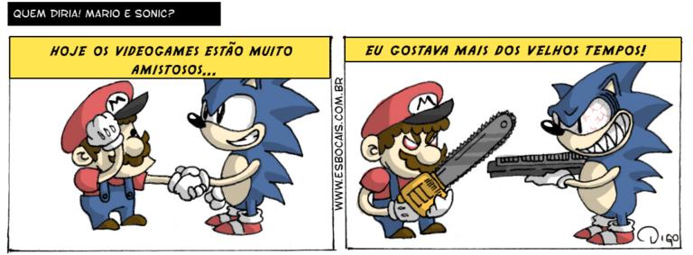 MLQC #8 – Quem diria! Mario e Sonic? | Narrador: Hoje os videogames estão muito amistosos... Mario e Sonic se cumprimentando.  Narrador: Eu gostava mais dos velhos tempos! Mario com uma motosserra e expressão de mau, Sonic com uma arma de fogo, e expressão de mau. ( amistosos, arma, armada, armadas, armado, armados, armamos, armando, armar, armará, armaram, armarão, armarei, armarem, armaremos, armaria, armariam, armarmos, armasse, armassem, armava, armavam, armei, armo, armou, com, cumprimenta, cumprimentada, cumprimentadas, cumprimentado, cumprimentados, cumprimentamos, cumprimentando, cumprimentar, cumprimentará, cumprimentaram, cumprimentarão, cumprimentarei, cumprimentarem, cumprimentaremos, cumprimentaria, cumprimentariam, cumprimentarmos, cumprimentasse, cumprimentassem, cumprimentava, cumprimentavam, cumprimentei, cumprimento, cumprimentou, dê, dos, é, estão, eu, expressão, fogo, gosta, gostada, gostadas, gostado, gostados, gostamos, gostando, gostar, gostará, gostaram, gostarão, gostarei, gostarem, gostaremos, gostaria, gostariam, gostarmos, gostasse, gostassem, gostava, gostavam, gostei, gosto, gostou, hoje, jogo, mais, mario, mau, motosserra, muito, narrador, os, rivalidade, sê, sonic, tempos, Tirinha, Tirinhas, uma, velhos, videogame, videogames)