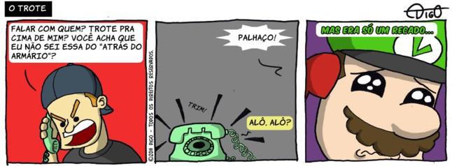 MLQC #11 – O trote |  ( armario, luigi, mario, telefone, Tirinhas, trote)