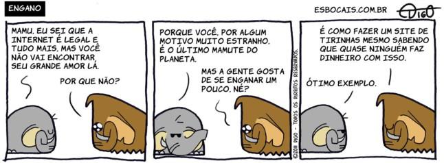 Mamu & Le Fan #15 – Engano    ( amor, dinheiro, elefante, enganar, internet, mamute, Tirinha, Tirinhas)