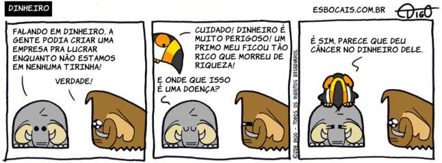 Mamu & Le Fan #16 – Dinheiro |  ( câncer, dinheiro, doença, elefante, mamute, morte, rico, Tirinhas, tucano)