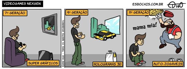 MLQC #17 – Videogames Nexgen |  ( automático, geração, gráfico, holograma, jogo, tirinha, Tirinhas, videogame)