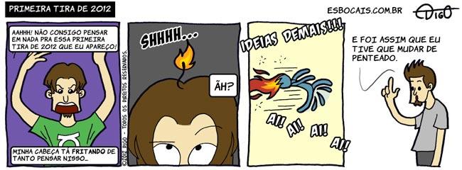 ADEM #18 – Primeira tira de 2012 |  ( 2012, cabelo, chama, fogo, ideia, incêndio, pensar, penteado, Tirinha, Tirinhas)