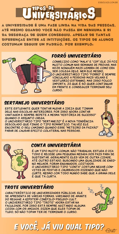 Especial #19 – Tipos de universitários |  ( conta, forró, meteoro, paixão, sertanejo, Tirinha, Tirinhas, trote, universitária, universitário)