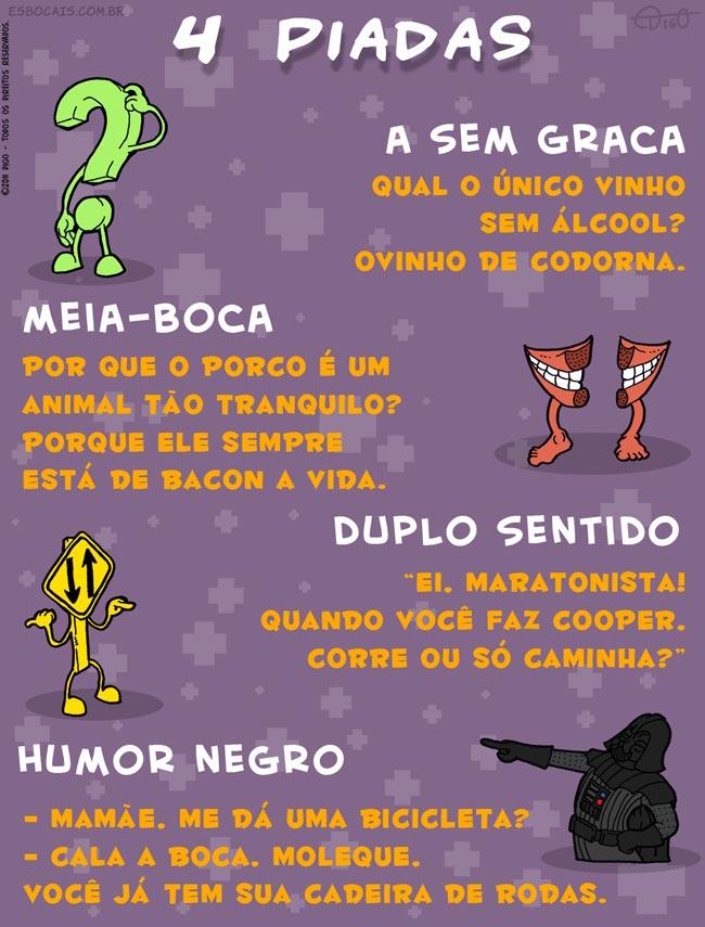 Especial #21 – 4 Piadas |  ( duplo, graça, humor, meia-boca, negro, piada, sem, sentido, Tirinhas)