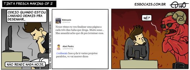 ADEM #27 – Tinta Fresca Making Of 2    ( capeta, computador, diabo, inferno, morrer, morte, projeto, Tirinha, Tirinhas, twitter)