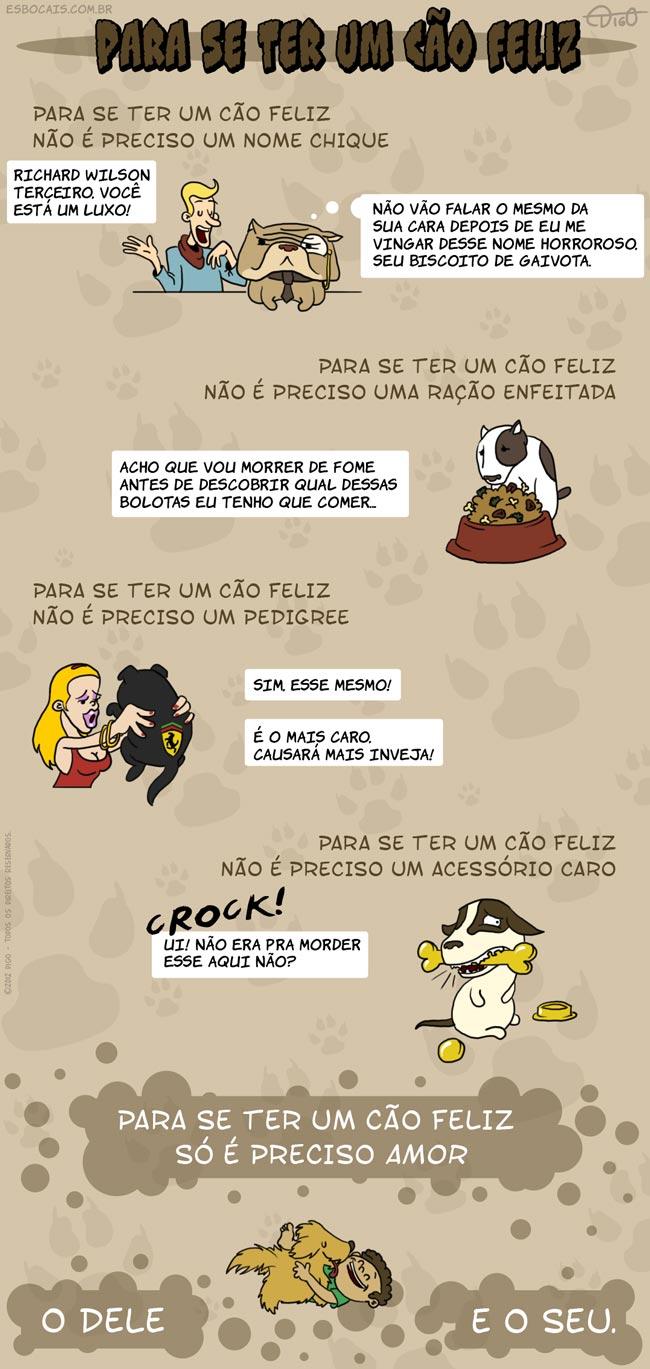 Especial #29 – Para se ter um cão feliz |  ( acessório, amor, cachorro, cão, caro, chique, enfeitada, feliz, nome, pedigree, ração, Tirinha, Tirinhas)