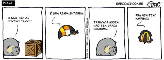 Mamu & Le Fan #32 – Piada    ( caixa, elefante, interna, piada, Tirinha, Tirinhas, tucano)