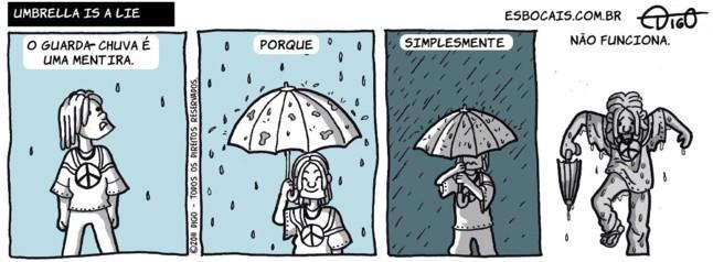 Outros #38 – Umbrella is a LIE |  ( água, chuva, funcionar, guarda-chuva, Tirinha, Tirinhas, vento)