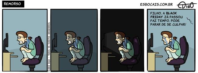 Geekhings #39 – Remorso |  ( arrependimento, black friday, computador, filho, geek, mãe, nerd, remorso, sentado, tirinha, Tirinhas)