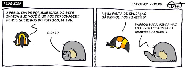 Mamu & Le Fan #44 – Pesquisa    ( elefante, pesquisa, publico, Tirinhas, tucano)