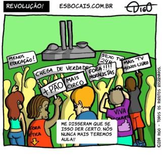 Outros #44 – Revolução! |  ( circo, corrupção, corrupto, educação, etica, jovens, juventude, mais, menos, moral, moralismo, pão, protesto, Tirinha, Tirinhas)