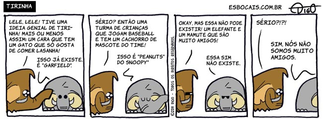 Mamu & Le Fan #46 – Tirinha |  ( baseball, cachorro, elefante, garfield, gato, lasanha, mamute, peanuts, snoopy, Tirinhas)