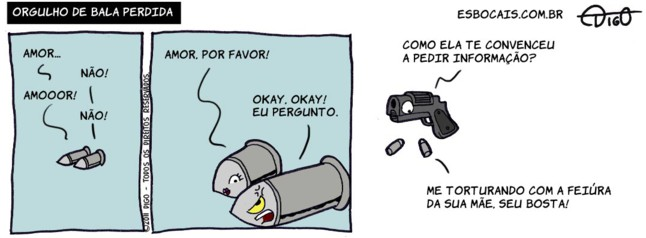 Outros #52 – Orgulho de bala perdida |  ( arma, bala, informação, perdida, Tirinha, Tirinhas)