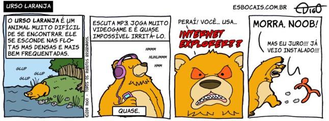 Outros #58 – Urso Laranja |  ( explorer, floresta, internet, laranja, mp3, Tirinha, Tirinhas, urso)