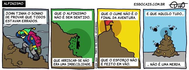 Outros #68 – Alpinismo |  ( alpinismo, cume, escalada, merda, montanha, Tirinha, Tirinhas)