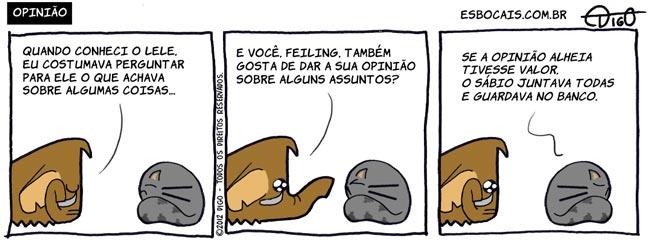 Mamu & Le Fan #74 – Opinião |  ( banco, gato, mamute, opinião, provérbio, sábio, Tirinha, Tirinhas, valor)