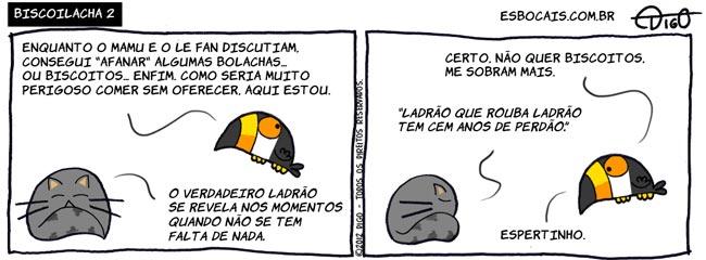 Mamu & Le Fan #77 – Biscoilacha 2 |  ( biscoito, bolacha, gato, ladrão, perdão, roubo, Tirinha, Tirinhas, tucano)