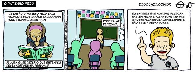 Outros #77 – O patinho feio |  ( aluno, escola, feio, livro, patinho, professora, Tirinha, Tirinhas)