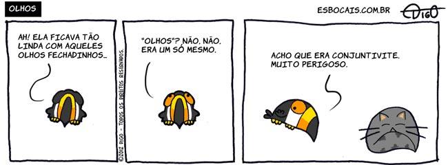 Mamu & Le Fan #81 – Olhos |  ( conjuntivite, fechados, gato, olhos, Tirinha, Tirinhas, tucano)