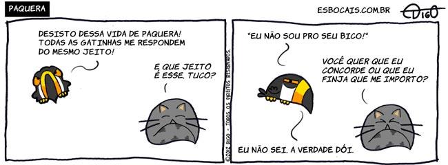 Mamu & Le Fan #88 – Paquera |  ( bico, cantada, gato, paquera, Tirinha, Tirinhas, tucano, verdade)