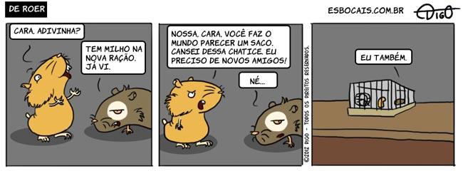 Outros #95 – De roer |  ( amigo, amizade, chato, ciência, hamster, laboratório, mundo, rato, Tirinha, Tirinhas)