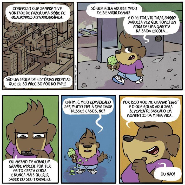 DIGO – Minha Vida de Cão |  ( autobiografia, autobiográfico, cachorro, cao, escola, fiel, fora, garota, idiota, realidade, série, tirinha, Tirinhas, verdade)