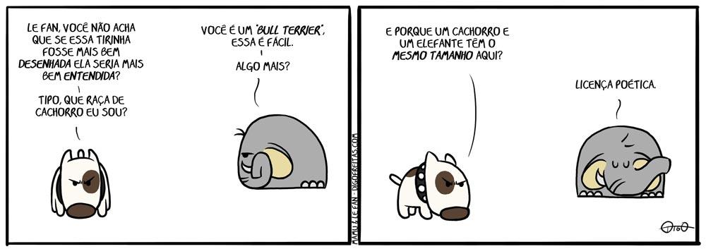 bull terrier, cachorro, desenho, elefante, mais, melhor, raça, tamanho, tirinha,