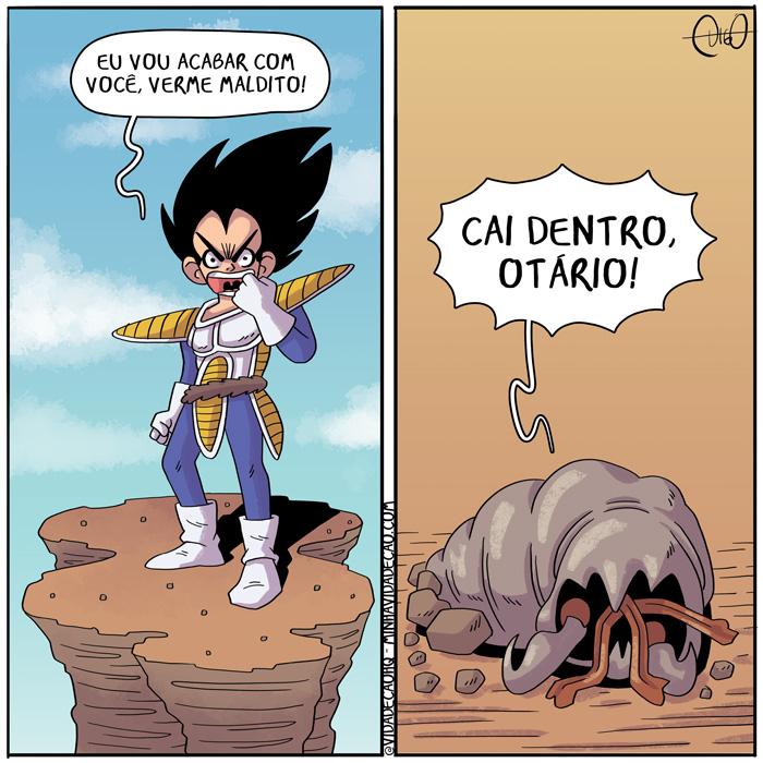 Vermes Malditos! | Vegeta de Dragon Ball Z está em cima de uma montanha com sua roupa de saiyajin clássica. Vegeta: Eu vou acabar com você, verme maldito!  Saindo da terra, um monstro do filme O Ataque dos Vermes Malditos. Monstro: Cai dentro, otário! ( acaba, acabado, acabando, acabar, acabei, acabou, animê, antigo, ball, buraco, cai, chão, clássico, dentro, derrota, derrotando, derrotar, derrotei, derrotou, dragon, dragon ball z, madlitos, maldito, monstro, montanha, otário, pedra, príncipe, saiyajin, terra, Tirinha, Tirinhas, vegeta, veme, vento, vermes, você, z)